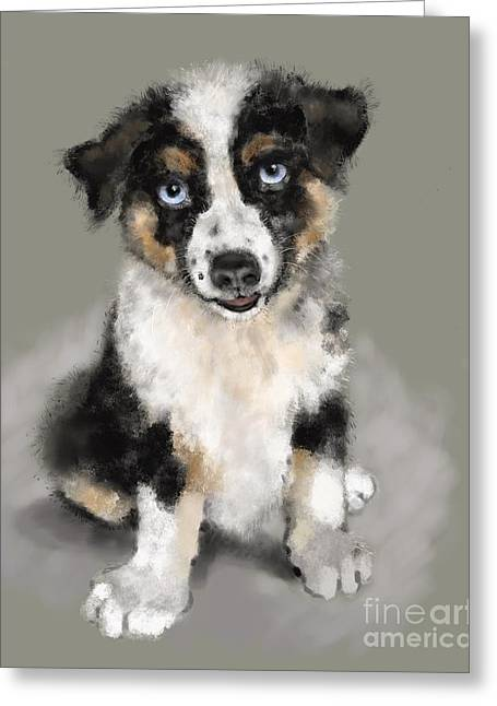 Greeting Card featuring the painting Australian Shepherd Pup by Lora Serra