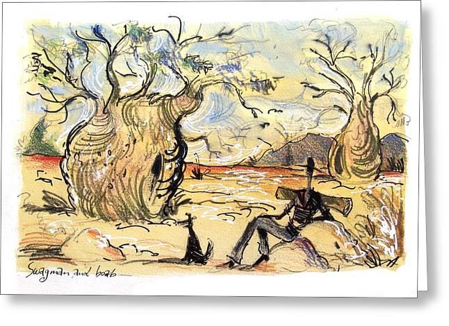Australian Swagman By Boab Tree Greeting Card by Alan Benge