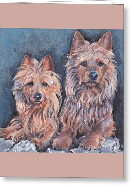 Greeting Card featuring the painting Australian Terriers by Lee Ann Shepard