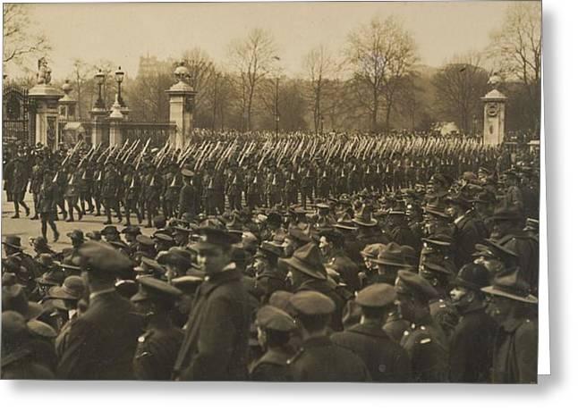 Australians Anzac Parade, 1919, By Herbert Green Greeting Card