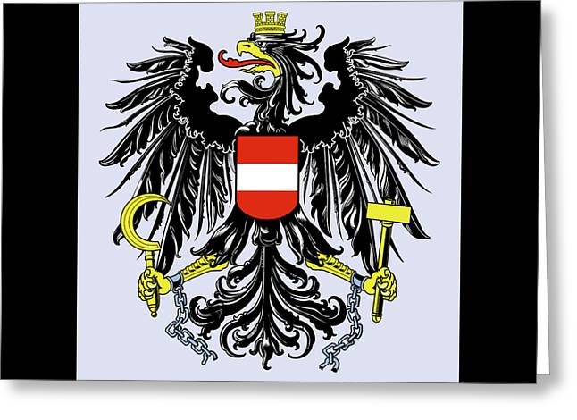 Greeting Card featuring the drawing Austria Coat Of Arms by Movie Poster Prints