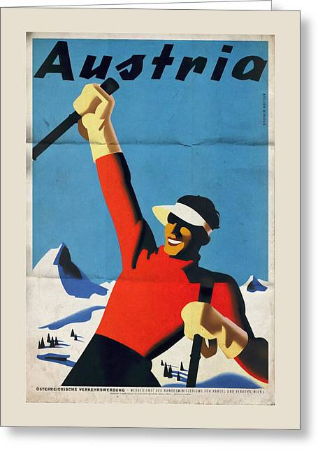 Austria Ski Tourism - Vintage Poster Folded Greeting Card
