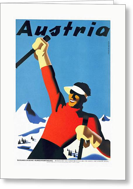 Austria Ski Tourism - Vintage Poster Restored Greeting Card