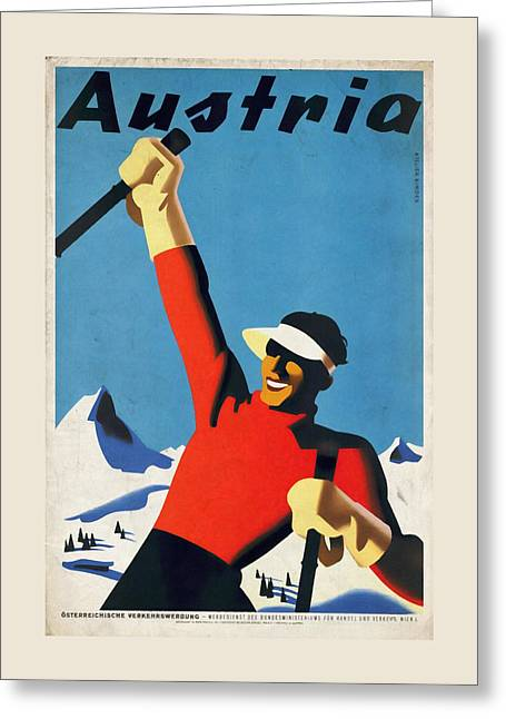 Austria Ski Tourism - Vintage Poster Vintagelized Greeting Card