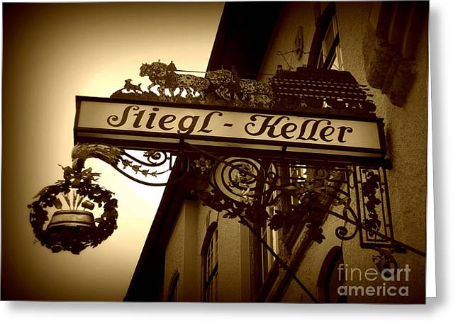 Austrian Beer Cellar Sign Greeting Card by Carol Groenen