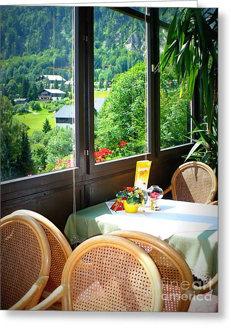 Table And Chairs Greeting Cards - Austrian Cafe Greeting Card by Carol Groenen