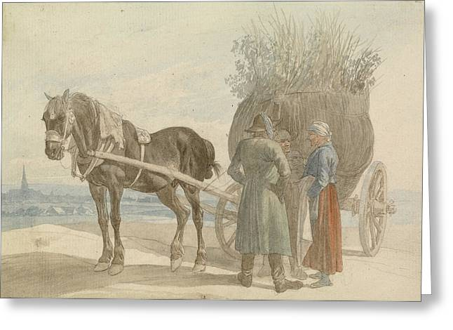Austrian Peasants With A Horse And Cart Greeting Card by Celestial Images