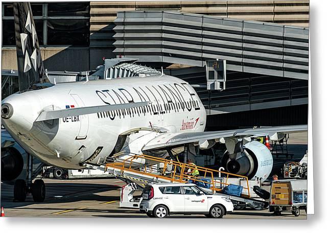 Austrian Star Alliance At Preparation Aircraft Befthe Gate Of Zurich Greeting Card