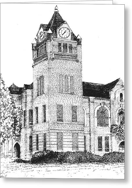 Town Square Drawings Greeting Cards - Autauga County Courthouse Greeting Card by Barney Hedrick