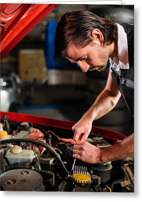 Auto Mechanic Fixing Car Engine Greeting Card by Frank Gaertner