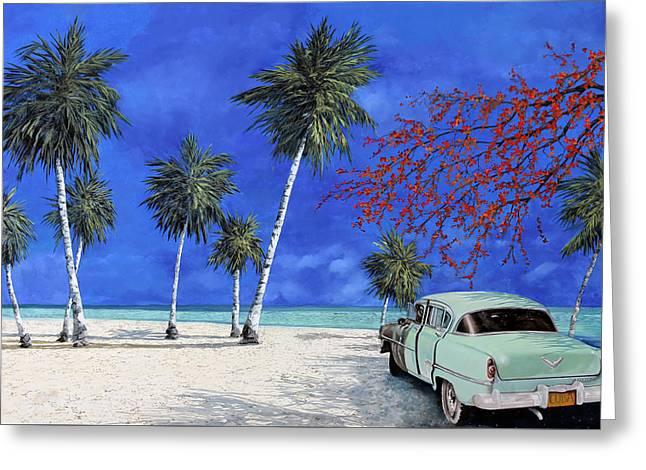 Auto Sulla Spiaggia Greeting Card