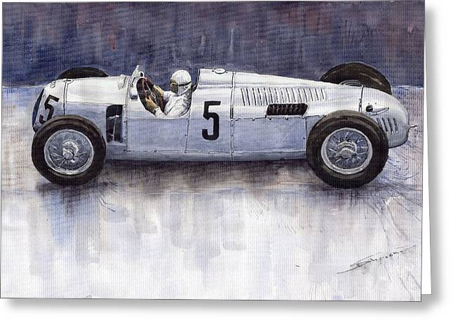 Auto Paintings Greeting Cards - Auto Union 1936 Type C Greeting Card by Yuriy  Shevchuk