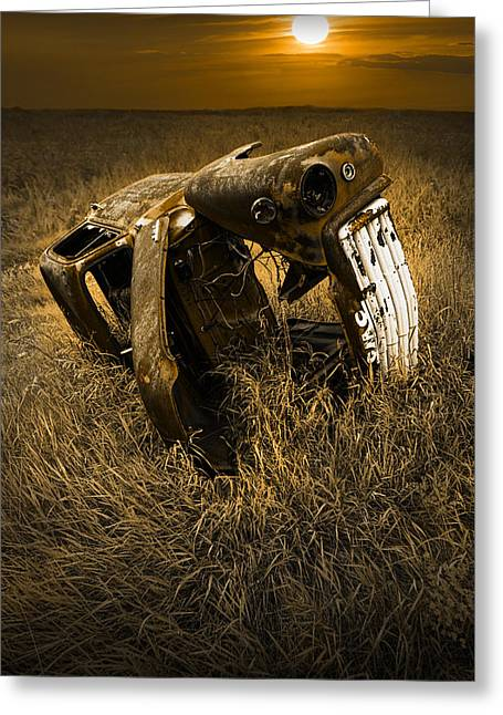 Auto Wreck In A Grassy Field On The Prairie At Sunset Greeting Card