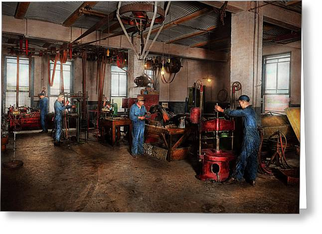 Greeting Card featuring the photograph Autobody - The Bodyshop 1916 by Mike Savad