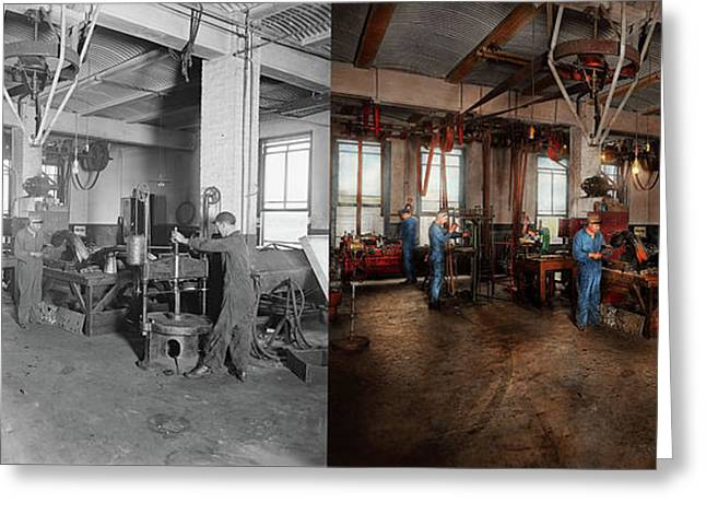Greeting Card featuring the photograph Autobody - The Bodyshop 1916 - Side By Side by Mike Savad