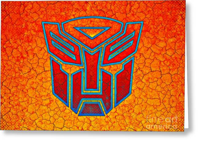 Autobot Cracked Greeting Card by Justin Moore
