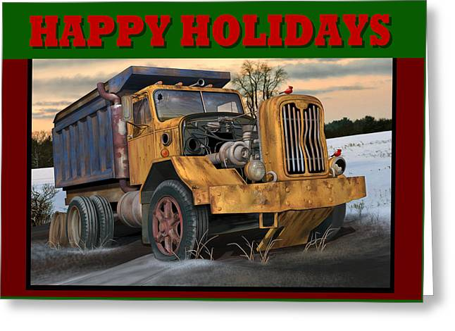 Autocar Happy Holidays Greeting Card by Stuart Swartz