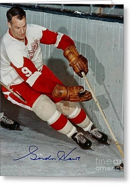 Autographed Photograph Of Gordie Howe Greeting Card by Pd