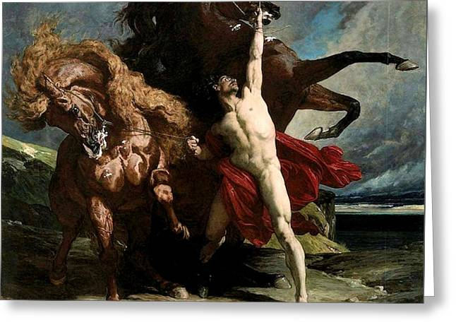 Automedon With The Horses Of Achilles Greeting Card by Henri Regnault
