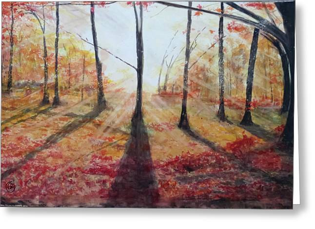 Automn Light Greeting Card by Annie Poitras