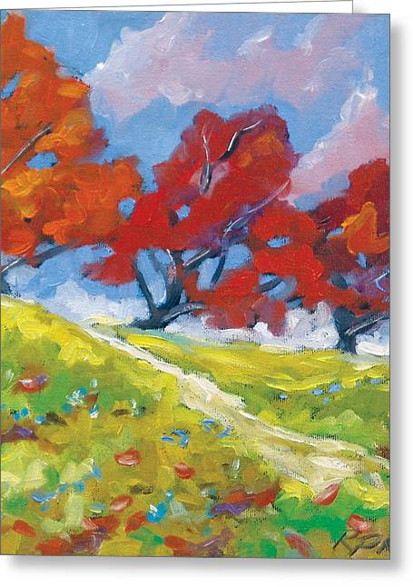 Automn Trees Greeting Card by Richard T Pranke