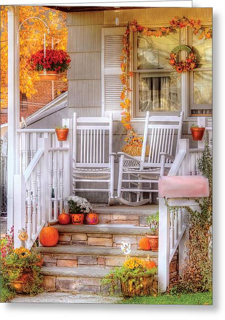 Stoop Greeting Cards - Autumn - House - My Aunts porch Greeting Card by Mike Savad
