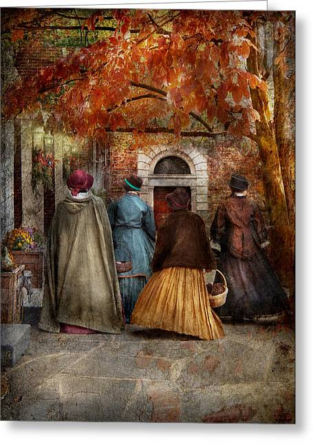Autumn - People - A Walk Downtown  Greeting Card by Mike Savad