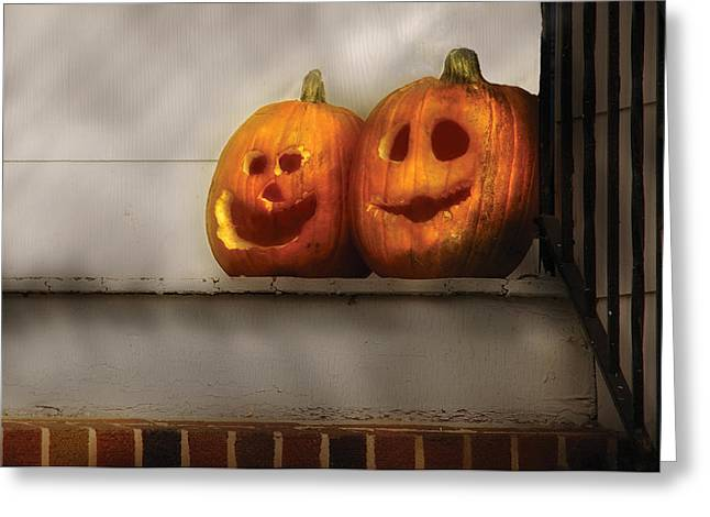 Autumn - Pumpkins - Two Goofy Pumpkins Greeting Card by Mike Savad