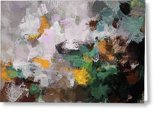Autumn Abstract Painting Greeting Card by Ayse Deniz