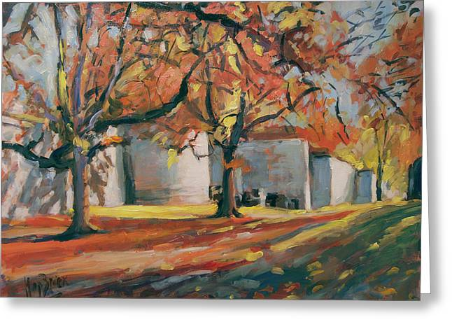 Autumn Along Maastricht City Wall Greeting Card by Nop Briex