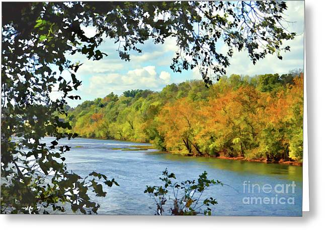 Autumn Along The New River - Bisset Park - Radford Virginia Greeting Card