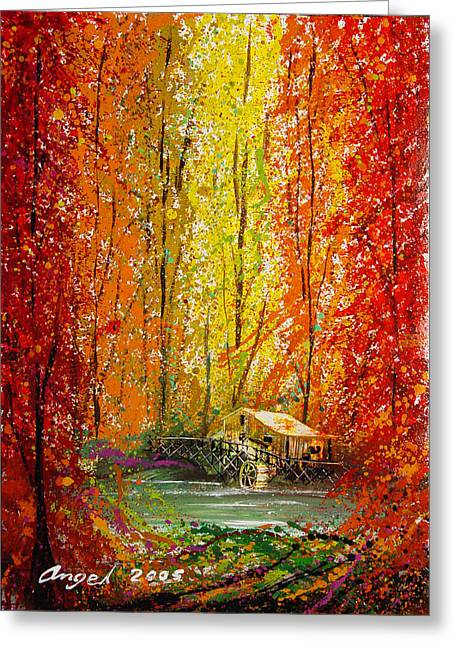 Autumn Greeting Card by Angel Ortiz