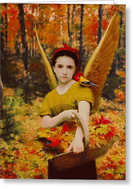 Autumn Angels Greeting Card by Stephen Lucas