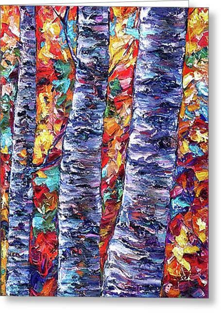 Autumn  Aspen Trees Contemporary Painting  Greeting Card