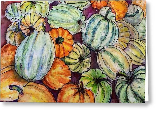 Autumn At Beth's Farmstand Greeting Card by Gloria Avner