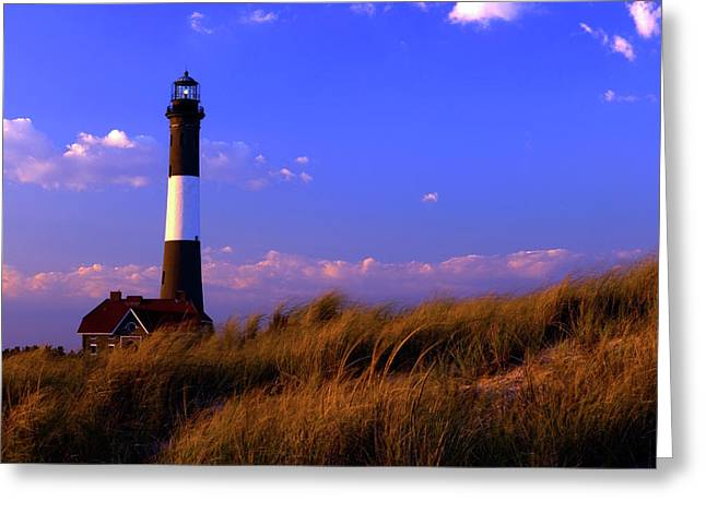 Autumn At Fire Island Lighthouse Greeting Card by Rick Berk
