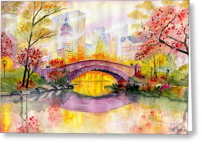 Autumn At Gapstow Bridge Central Park Greeting Card