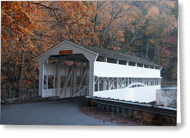 Autumn At Knox Covered Bridge In Valley Forge Greeting Card