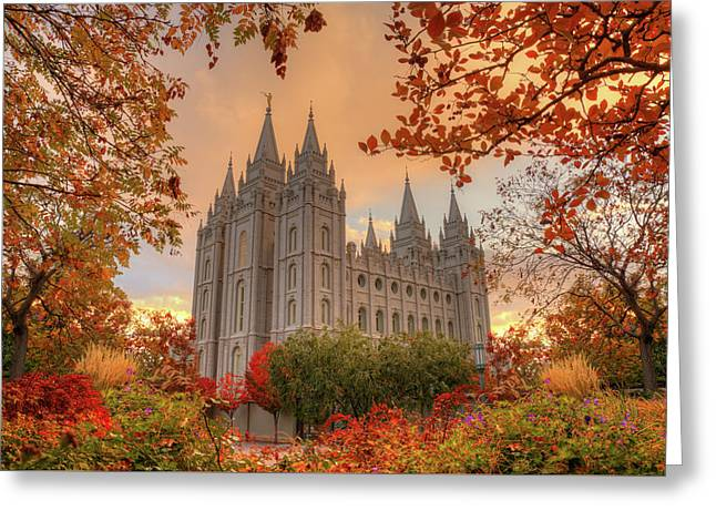 Autumn At Temple Square Greeting Card