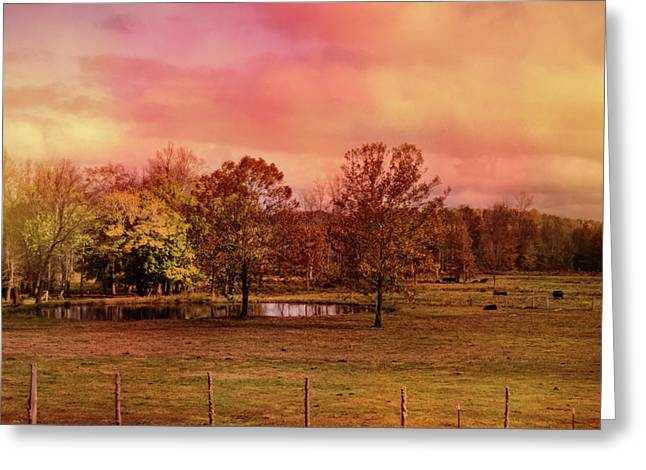 Autumn At The Cattle Farm Landscape Art Greeting Card by Jai Johnson