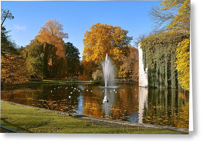 Autumn At The City Park Pond Maastricht Greeting Card by Nop Briex
