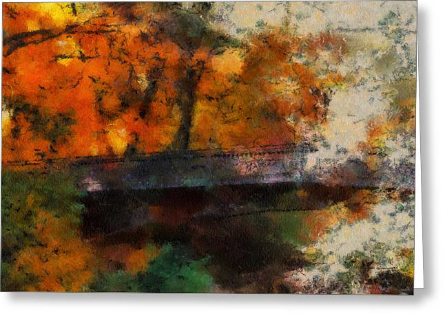 Autumn Colored Quilts Greeting Cards - Autumn At The Foot Bridge 03 Greeting Card by Thomas Woolworth