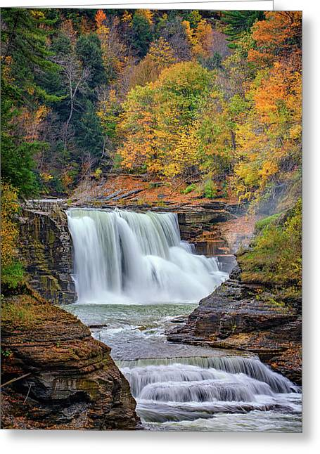 Autumn At The Lower Falls Greeting Card by Rick Berk