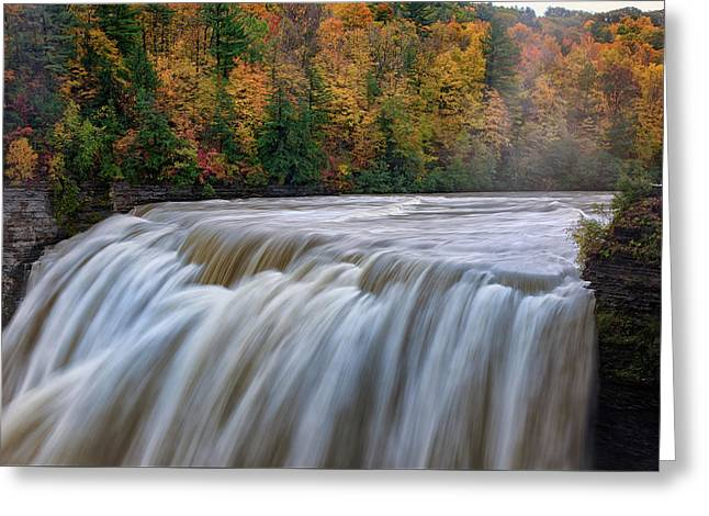 Autumn At The Middle Falls  Greeting Card by Rick Berk