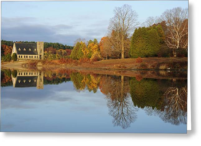 Autumn At The Old Stone Church Greeting Card