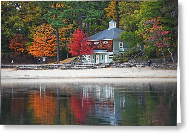 Autumn At Walden Pond Fall Trees Concord Ma Greeting Card