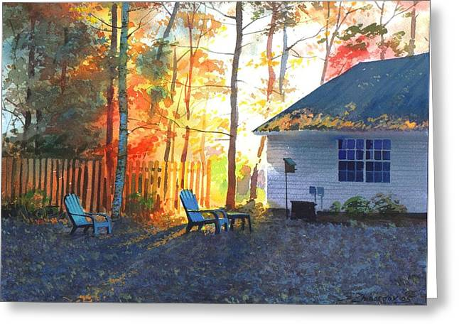 Autumn Backyard Greeting Card by Sergey Zhiboedov