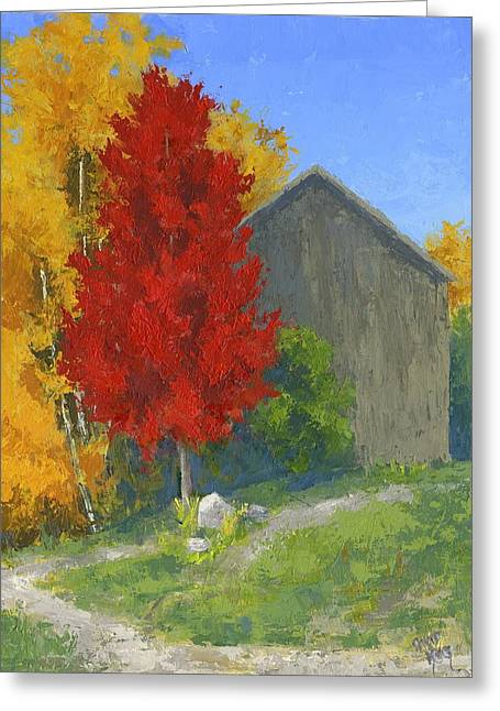 Greeting Card featuring the painting Autumn Barn by David King