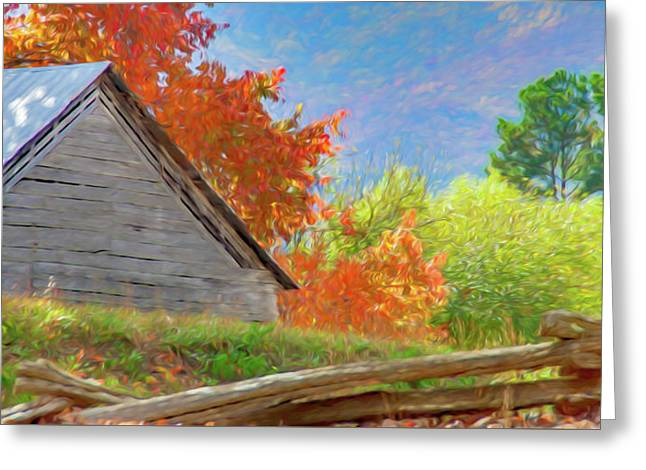 Autumn Barn Digital Watercolor Greeting Card