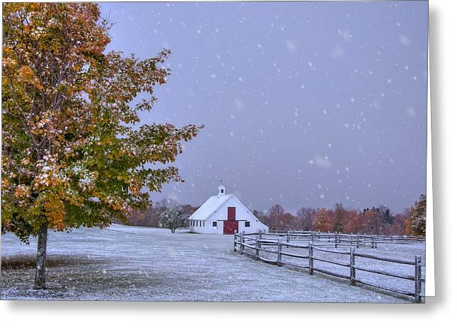 Autumn Barn In Snow - Vermont Greeting Card by Joann Vitali